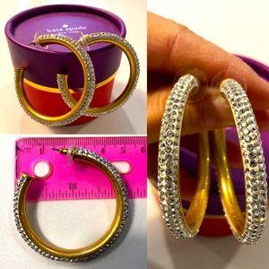 Kate Spade white crystal hoop earrings